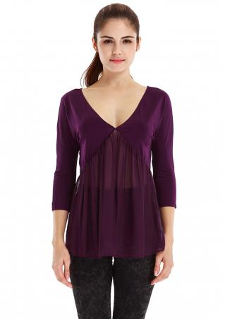 Solid Backless Chiffon Casual Blouse