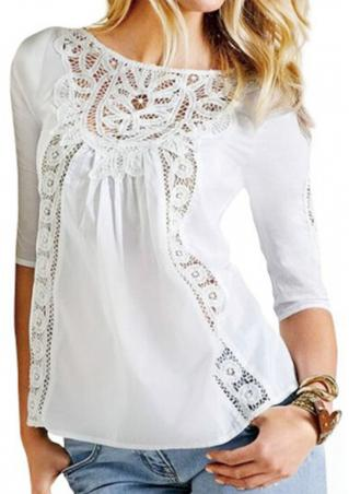 Solid Lace Half Sleeve Casual Blouse