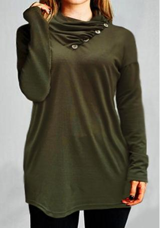 Solid Button Heaps Collar Casual Blouse
