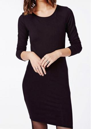 Solid Hollow Out Bodycon Mini Dress