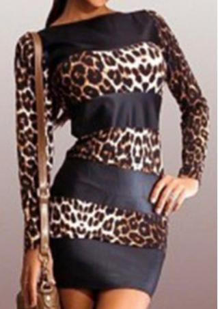 Leopard PU Leather Splicing Bodycon Dress