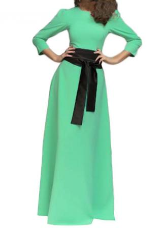 Light Green Maxi Dress With Belt