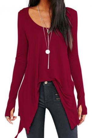 Solid Irregular O-Neck Casual Blouse