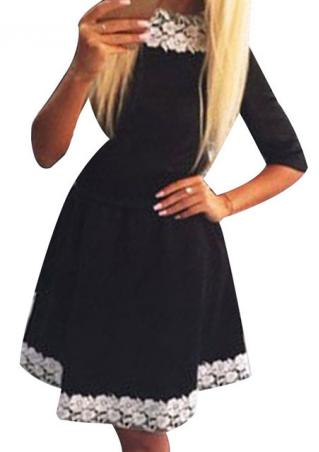 Lace Splicing Swing Mini Dress With Belt
