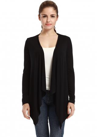 Solid Ruffled Irregular Cardigan