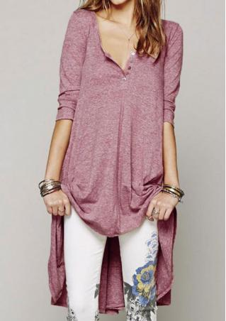 V-Neck Button Irregular Casual Dress