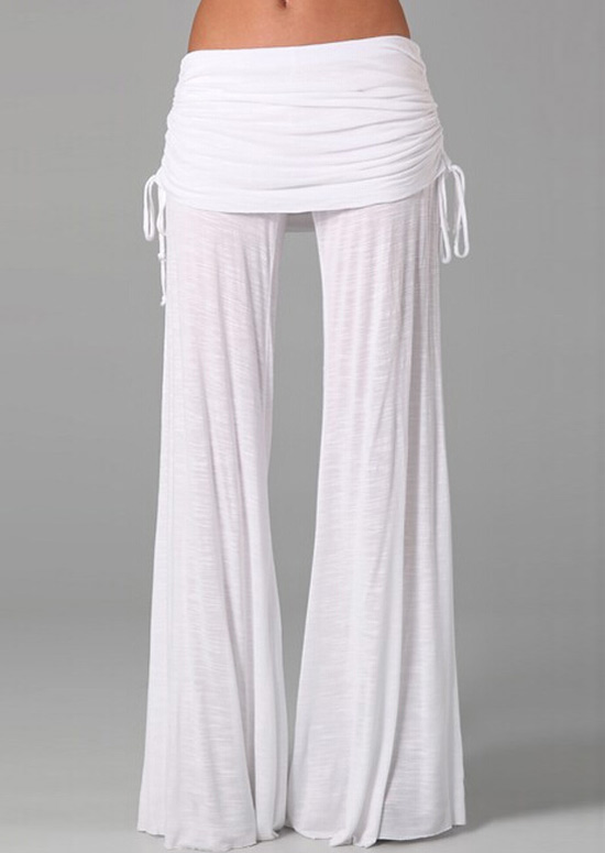 Solid Elastic Waist Wide Leg Pants Fairyseason