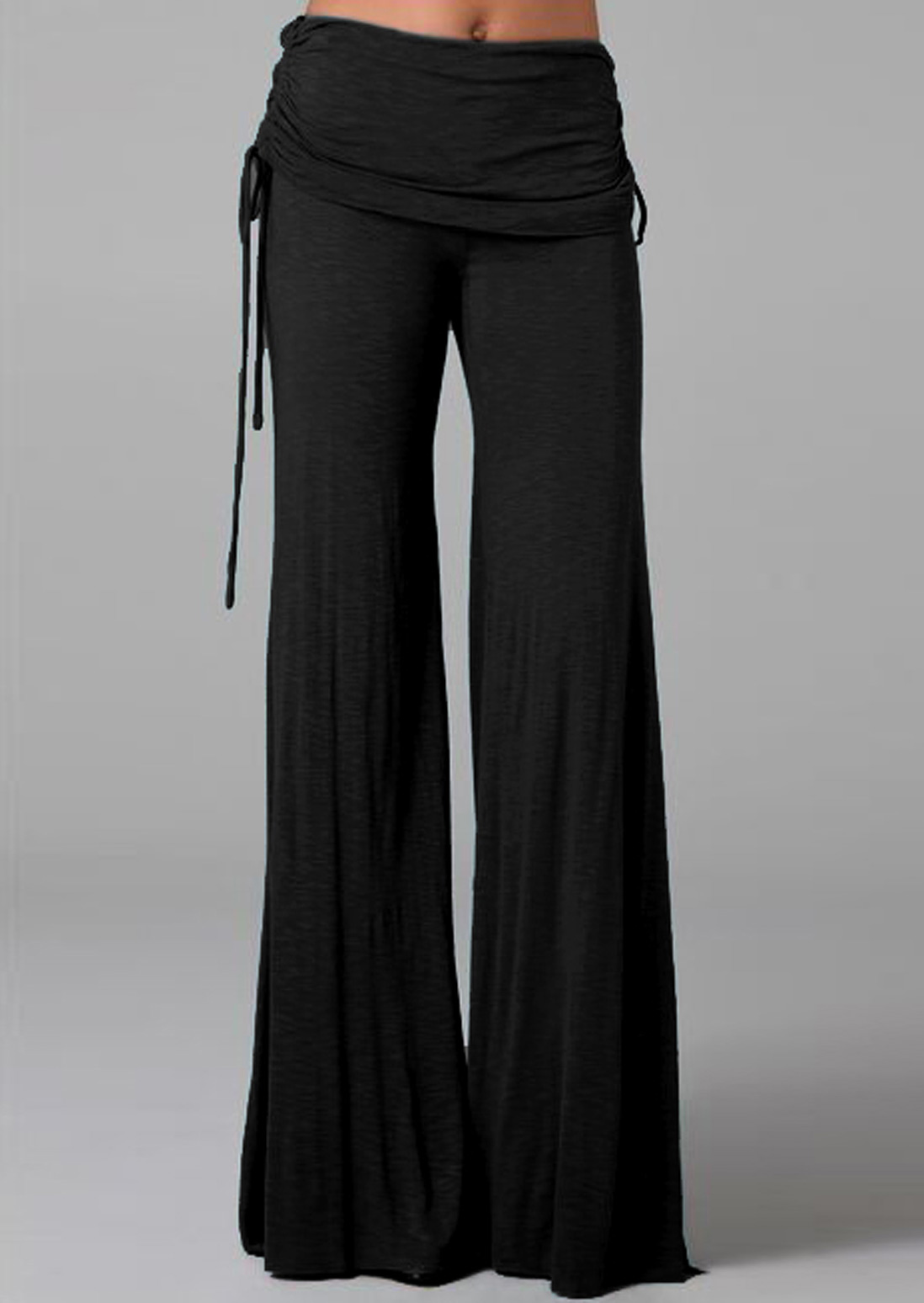 Solid Elastic Waist Wide Leg Pants - Fairyseason
