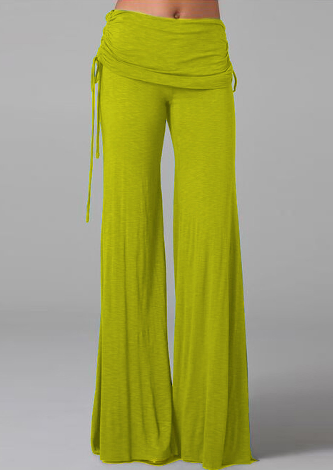 Solid Elastic Waist Wide Leg Pants Fairyseason