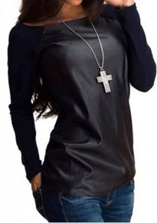 Splicing Leather Fashion Long Sleeve T-Shirt