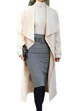 Solid Wool Bodycon Skirt With Belt