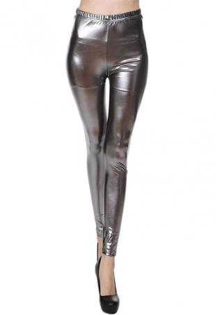 Solid Bling Bling Faux Leather Stretchy Leggings