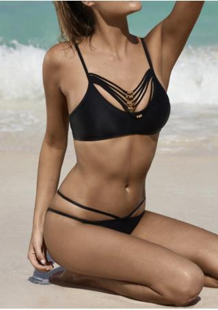 Black Bead Spaghetti Strap Hollow Out Bikini Set