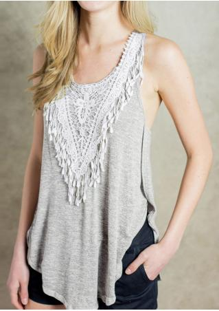 Splicing Lace Hollow Out Irregular Casual Tank