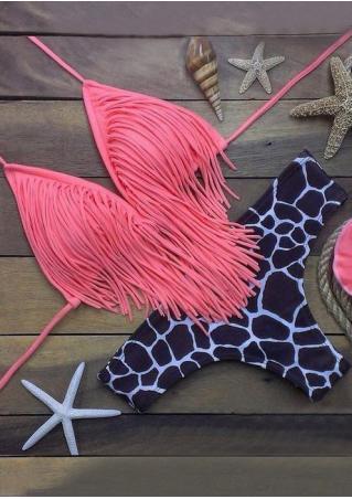 Leopard Tassel Spaghetti Strap Sexy Bikini Set