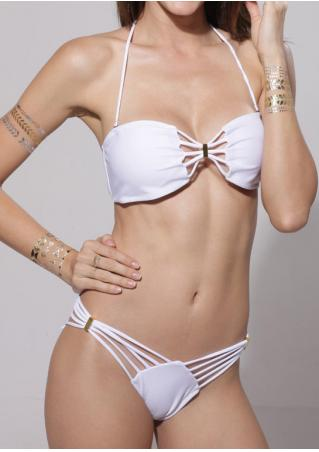 Solid Strappy Hollow Out Splicing Bikini Set