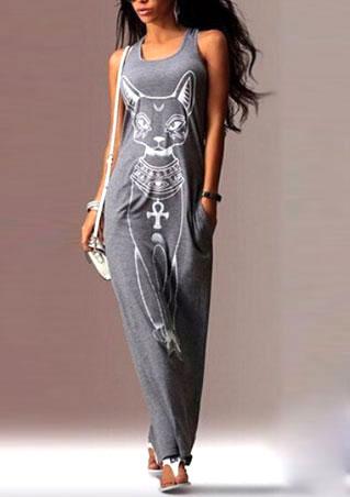 Rochie lungă, casual, din poliester, fără mâneci, cu imprimeu frontal