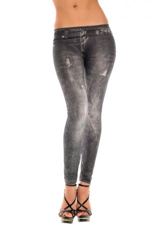 Solid Hole Skinny Denim Pants