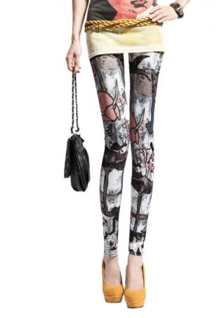 Printed Slim Fit Stretchy Punk Leggings