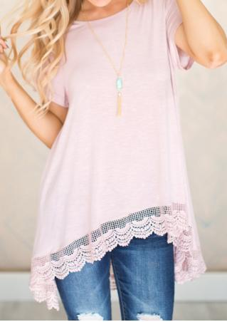 Solid Lace Splicing Irregular Casual Blouse Solid