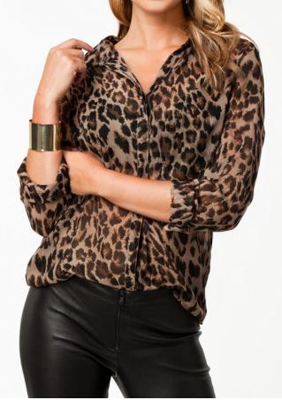 Leopard Button Chiffon Casual Shirt