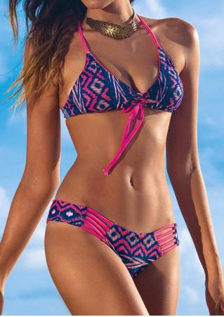 Printed Splicing Hollow Out Halter Bikini Set