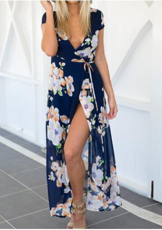 Floral Chiffon Deep V-Neck Sexy Maxi Slit Dress