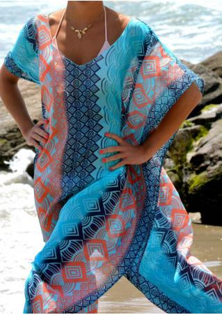 Geometric Printed Chiffon Beach Long Cover Up