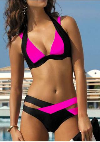 Splicing Color Block Criss-Cross Halter Sexy Bikini Set