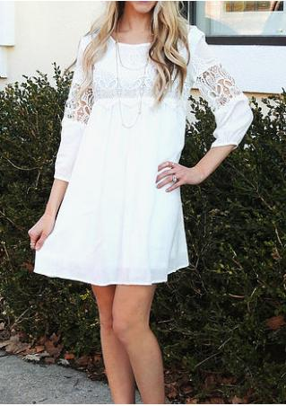 Solid Lace Splicing A-Line Mini Casual Dress