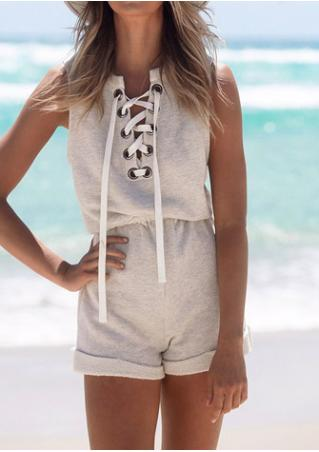 Solid Lace Up Hollow Out Casual Romper