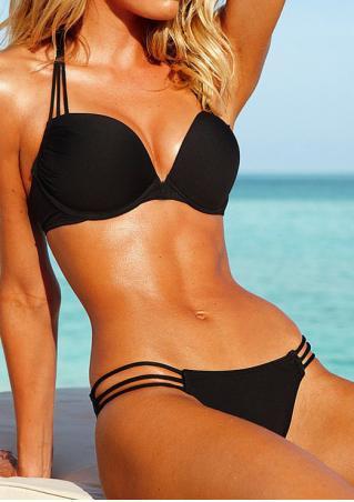 Solid Strappy Halter Sexy Bikini Set
