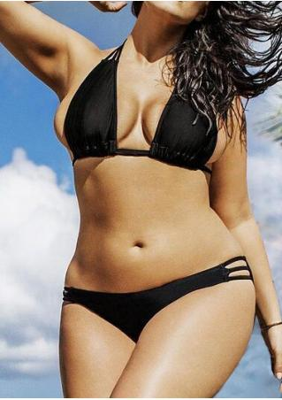 Solid Hollow Out Halter Sexy Bikini Set