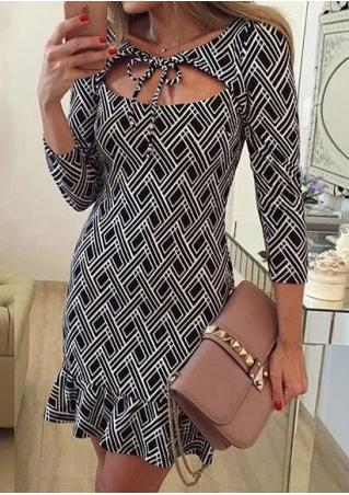 Printed Ruffled Sexy Bodycon Mini Dress