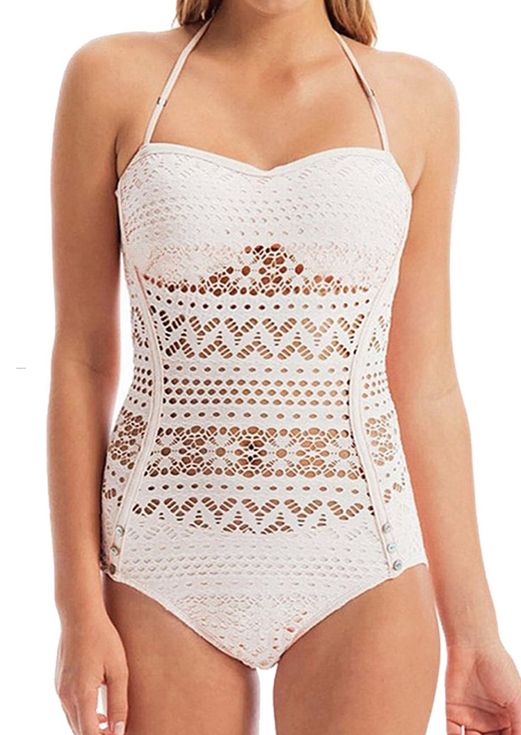 Solid Lace Hollow Out Halter One Piece Swimsuit Fairyseason