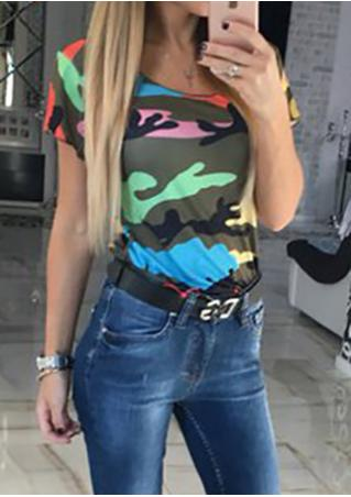 Camouflage Printed Short Sleeve Casual T-Shirt Camouflage