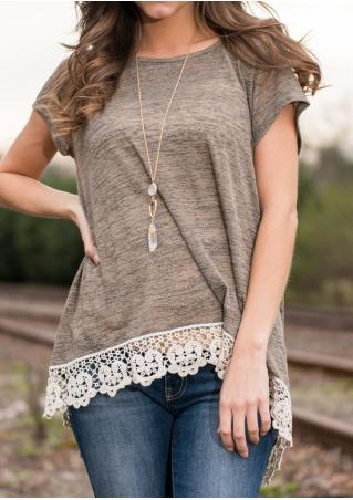 Lace Splicing Short Sleeve Casual Blouse