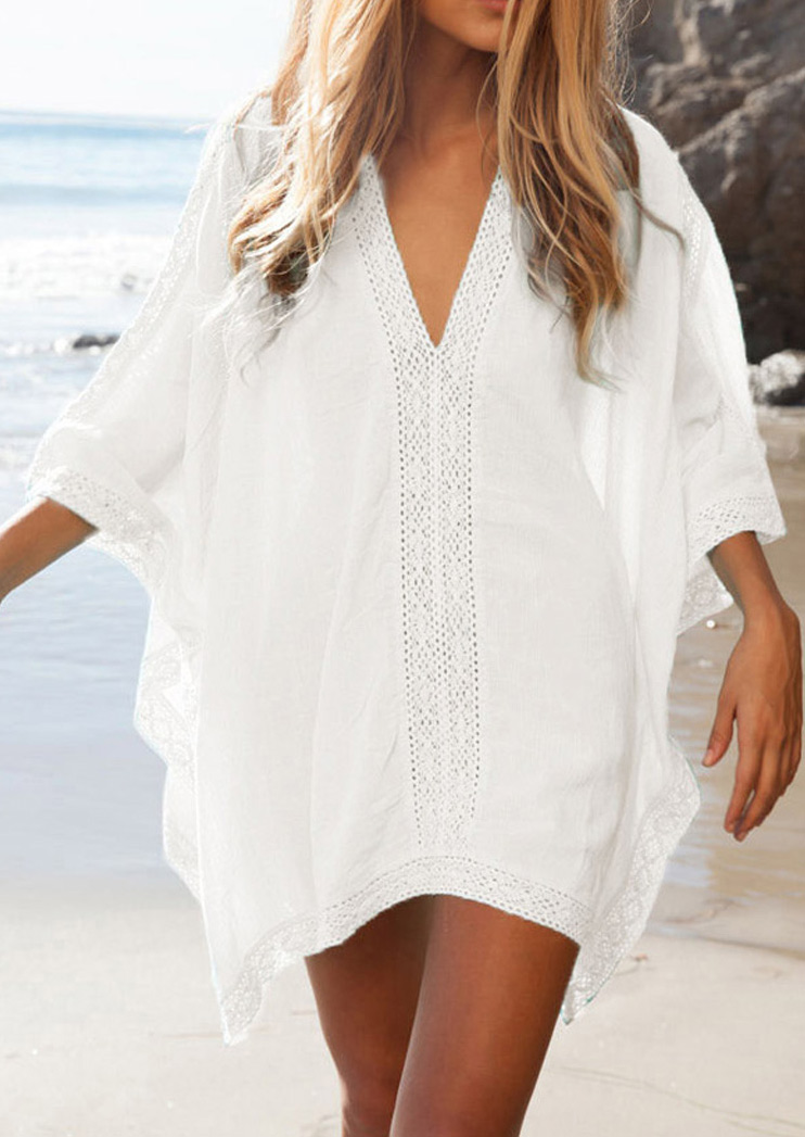 Solid Lace Splicing Beach Cover Up фото