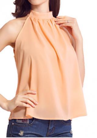 Solid Chiffon Ruffled Sleeveless Fashion Blouse