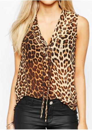 Leopard Printed Sleeveless Fashion Shirt