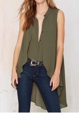 Solid Splicing Irregular Layered Chiffon Shirt