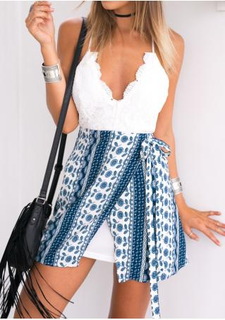 Printed Lace Splicing Mini Strap Dress