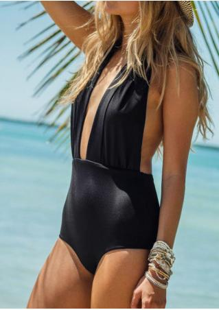 Solid Deep V-Neck Backless One-Piece Swimsuit