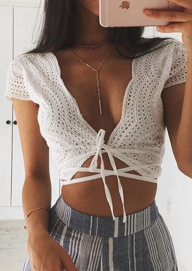 Solid Cross Strappy Sexy Crop Top Fairyseason