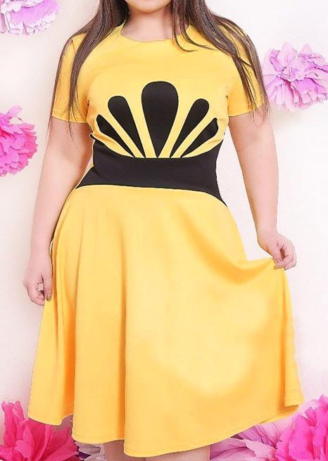 Rochie midi în cloș, fashion, plisată, din poliester, cu imprimeu, mărimi plus size