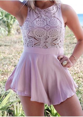 Solid Lace Chiffon Splicing Backless Sexy Romper