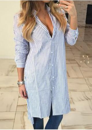 Striped Turn-Down Collar Casual Shirt