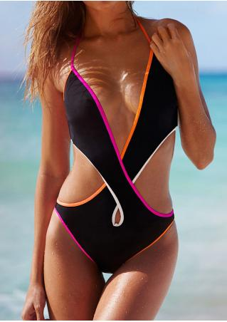 Splicing Criss-Cross Halter One-Piece Swimsuit