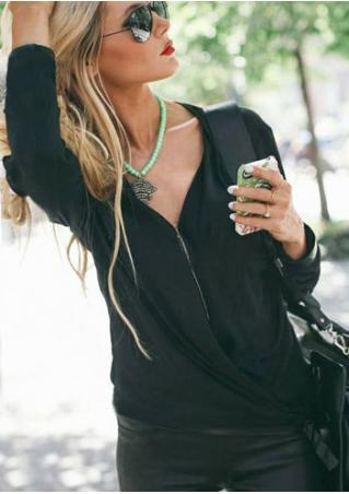 Solid Zipper V-Neck Loose Fashion Blouse