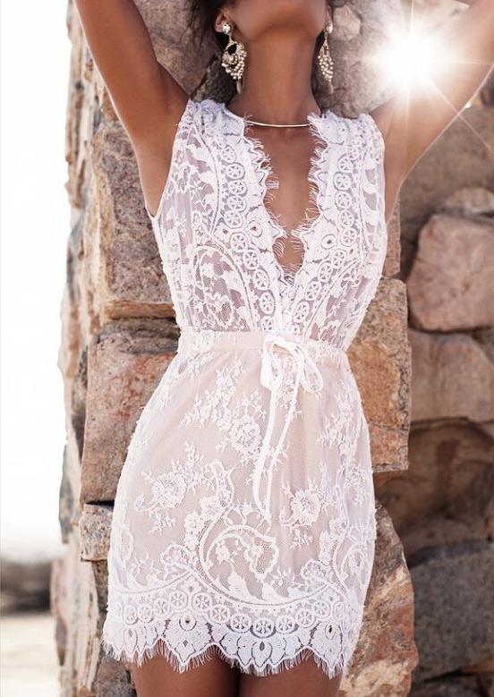 Sexy V-Neck Lace Dress